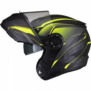 Black Optimus II Infinity Flip Front Matt Black Hi-Vis 53098503 Opening mc helmet