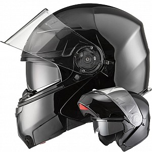 AGRIUS FURY FLIP FRONT GLOSSBLACK MOTORCYCLE 1003