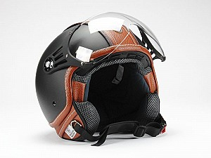 BNO PILOT MATT BLACK BROWN JET MC HELMET OP01-PL26