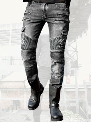 ATA HDROCK GRAY KEVLAR DENIM JEANS MC TROUSERS HDRG-709