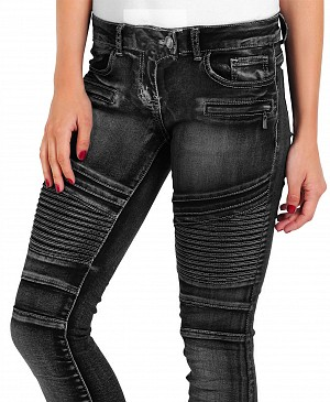 ATA LADY BIKER BLACK DENIM KEVLAR JEANS MC PORTS LB-02