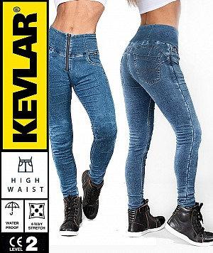 LADY KEVLAR DENIM LEGGINGS DIRTYBLUE WATERPROOF MC BYXA WP12