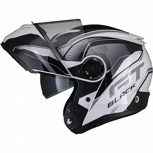 Black Optimus II Infinity Flip Front Gloss Black White 53091503 Opening mc helmet