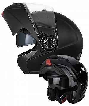 H910 MC Flip up Openable with built-in sun visor Black motorcycle helmet