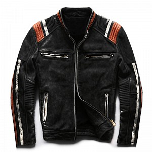 ATA Conman Black HD Leather MC Leather Jacket Black 345001