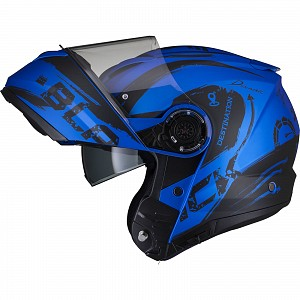 Black Optimus II Destination Flip Front Matt Blue 52970303 Opening mc helmet