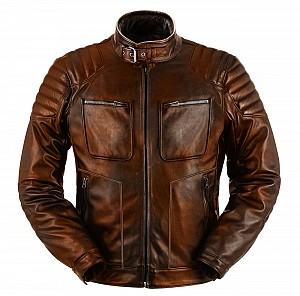 ATA NORDMEN BROWN CUSTOM  MOTORCYCLE LEATHER JACKET 320199