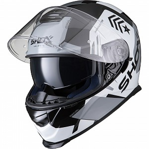 SHOX ASSAULT EVO RECOIL  BLACK/WHITE 0103 MOTORCYCLE HELMET