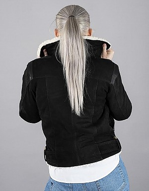 LADY AVIATOR BLACK NUBUCK SHEARLING SKINNJACKA 2004