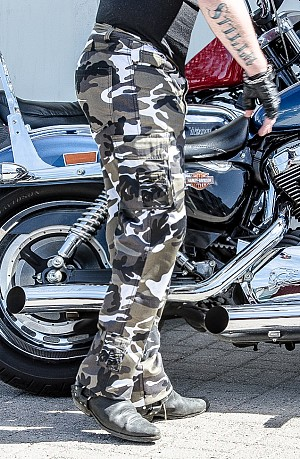 DENIM CAMO GREY SIDEPOCKET RANGER KEVLAR MOTORCYCLE PANT