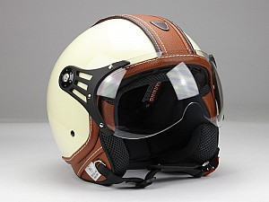 BNO PILOT MATT BEIGE BROWN JET MC HELMET OP01 PL28