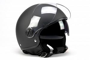 BNO JET 8 RETRO MATT BLACK SUNVISOR JET MOTORCYCLE JET HELMET
