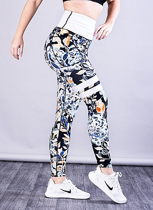 SHAPELAB FLORAL BEAUTY SCRUNCH LEGGINGS