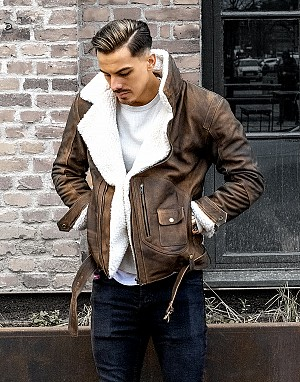 SUPREME AV8 BBR PREMIUM REAGER NUBUCK VINTAGE DARK BROWN LEATHER JACKET 1905