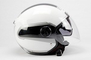 BNO JET 6 GLOSS WHITE SUNVISOR JET MOTORCYCLE JET HELMET
