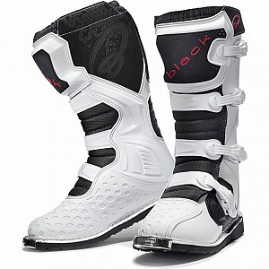 BLACK MX Enigma White Motocross Boots (CE Level 2 Certified) 5225