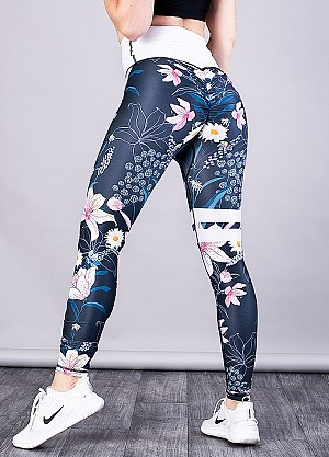 SHAPELAB BLUEPARADISE SCRUNCH LEGGINGS