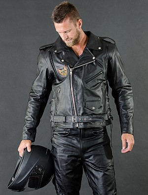 Chopper V2 with lacing and belt leather jacket 009879