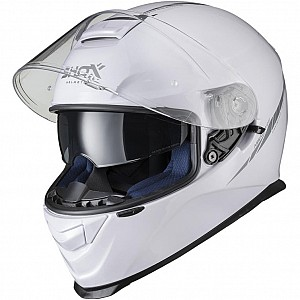 SHOX ASSAULT EVO WHITE BLANK GLOSS SUNVISOR 1003 MOTORCYCLE HELMET