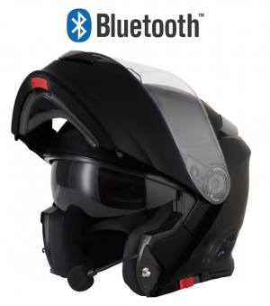 BLINC V5 BLUETOOTH BLANK GLOSS BLACK STEREO MC HELMET